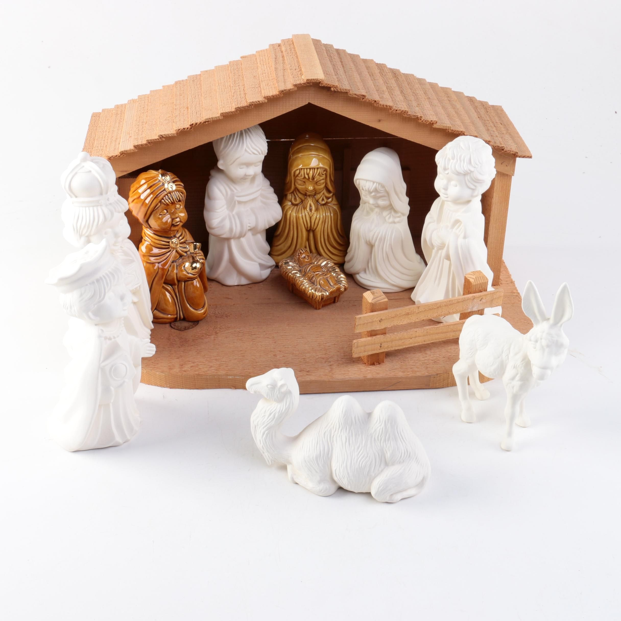 Ceramic and Pine Nativity Scene