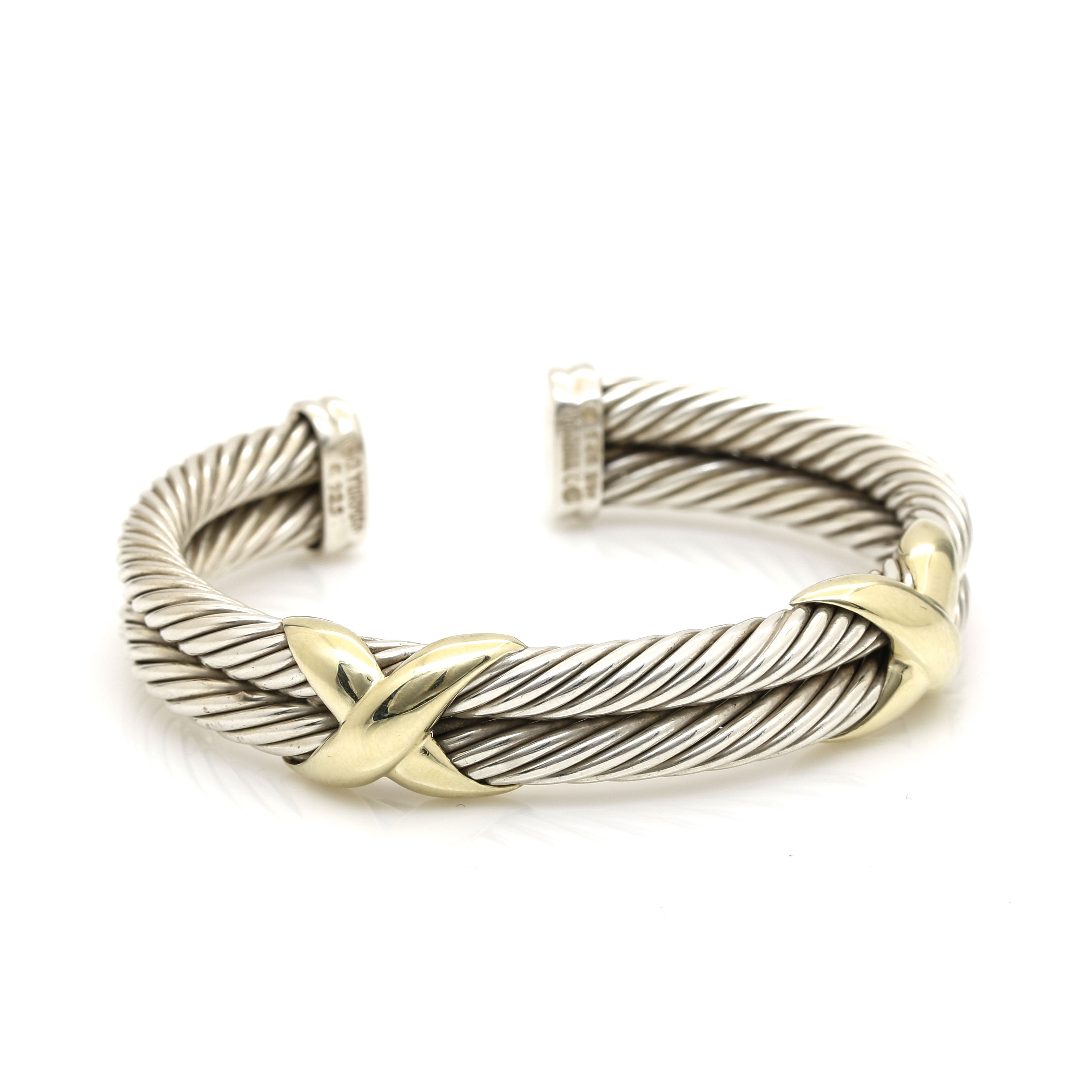 """David Yurman Sterling Silver and 14K Yellow Gold """"Double X"""" Cable Bracelet"""