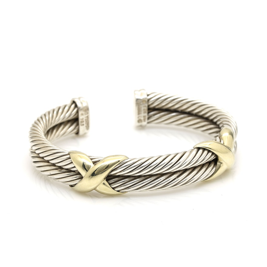 David Yurman Sterling Silver And 14k Yellow Gold Double X Cable Bracelet