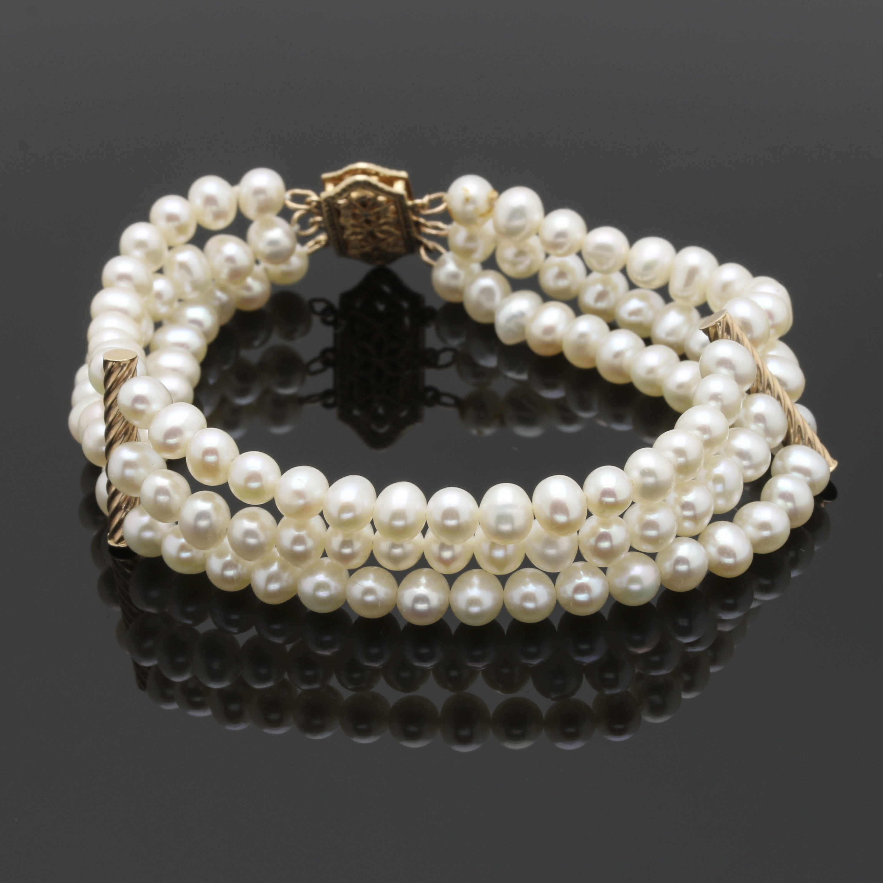 Cultured Freshwater Pearl Bracelet With 14K Yellow Gold Accents