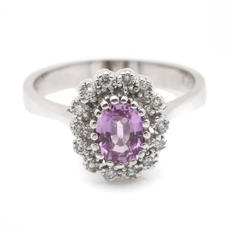 EFFY 14K White Gold 1.01 CT Pink Sapphire and Diamond Ring