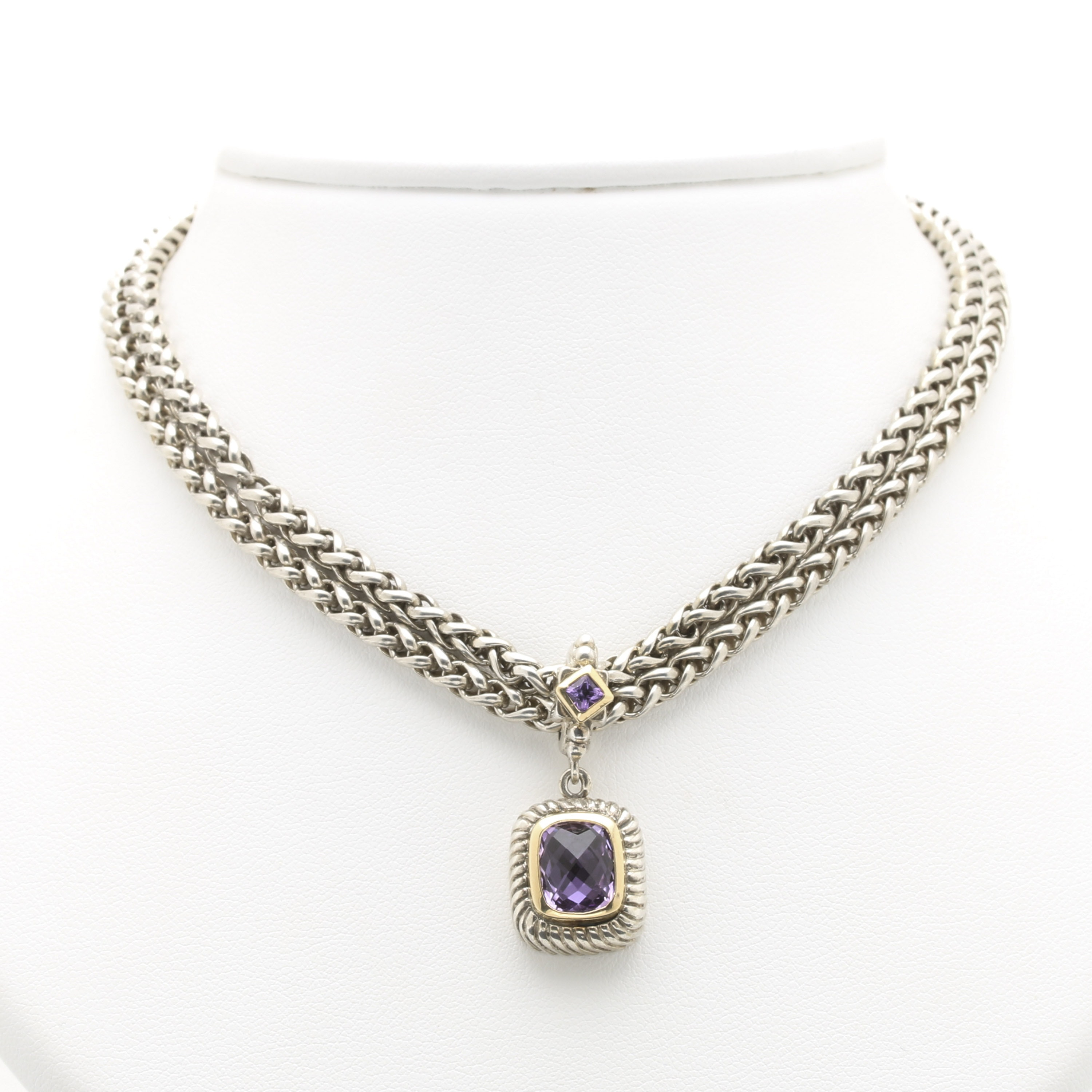 Flli Menegatti Sterling Silver Amethyst Necklace With 18K Yellow Gold Accents