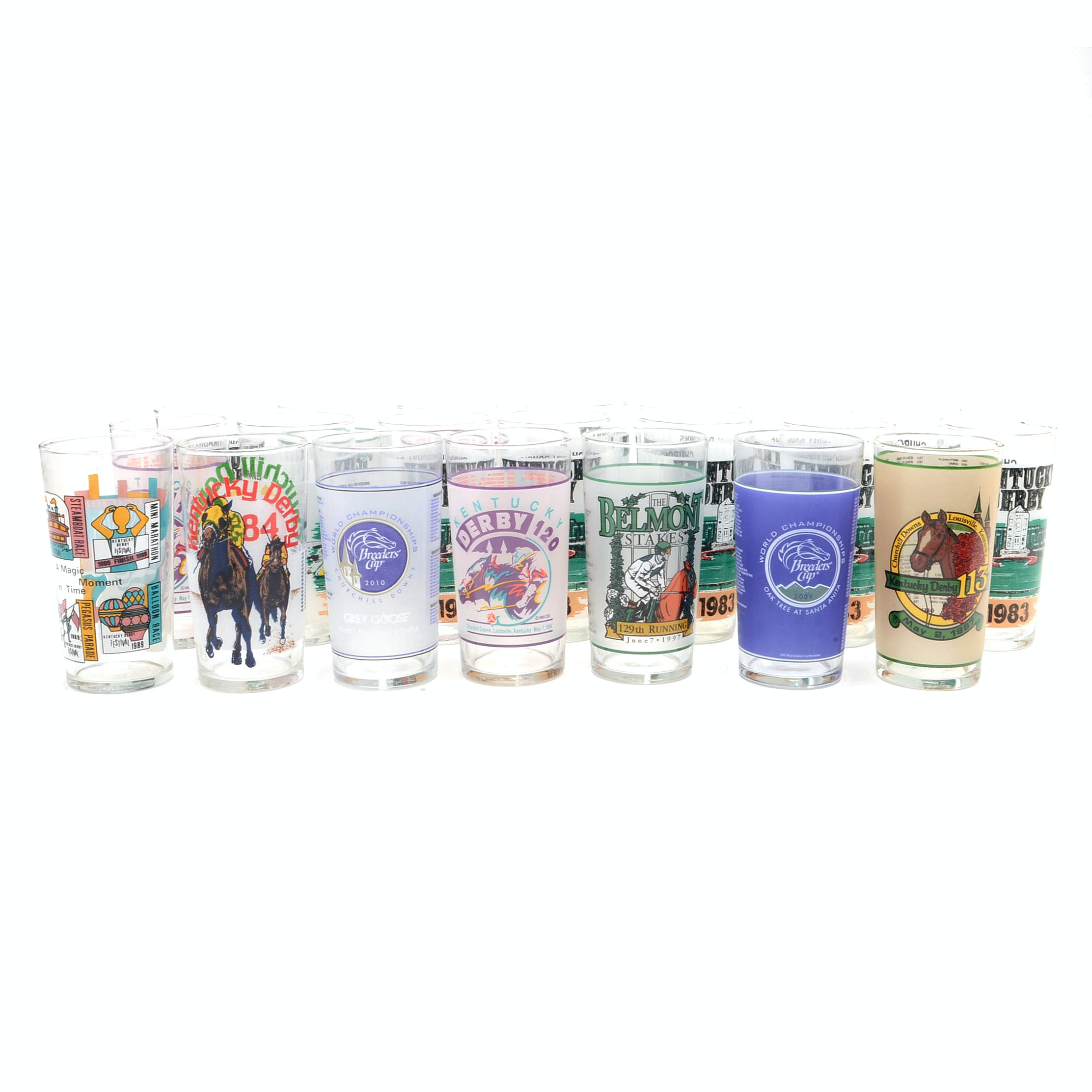 Kentucky Derby, Belmont and Breeders Cup Glasses