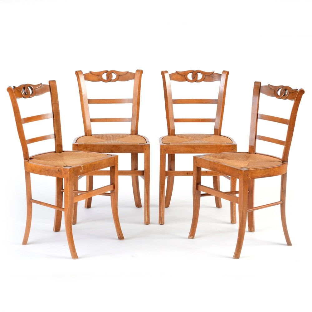 Carved Rush Seat Side Chairs