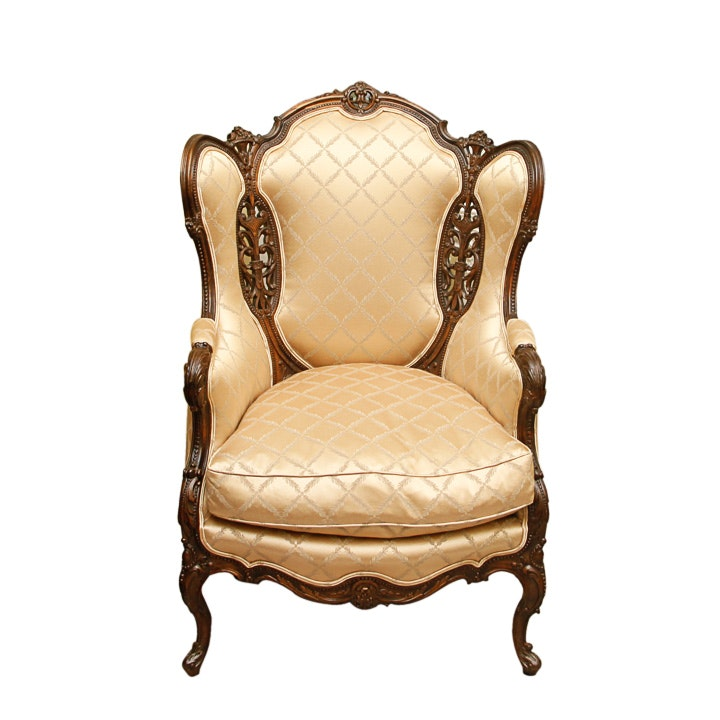 Antique French Carved Oak Wingback Armchair