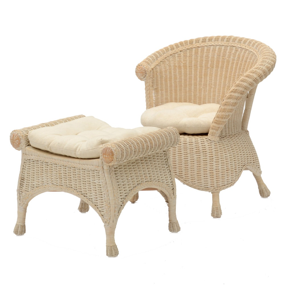 White Rattan Chair and Footstool