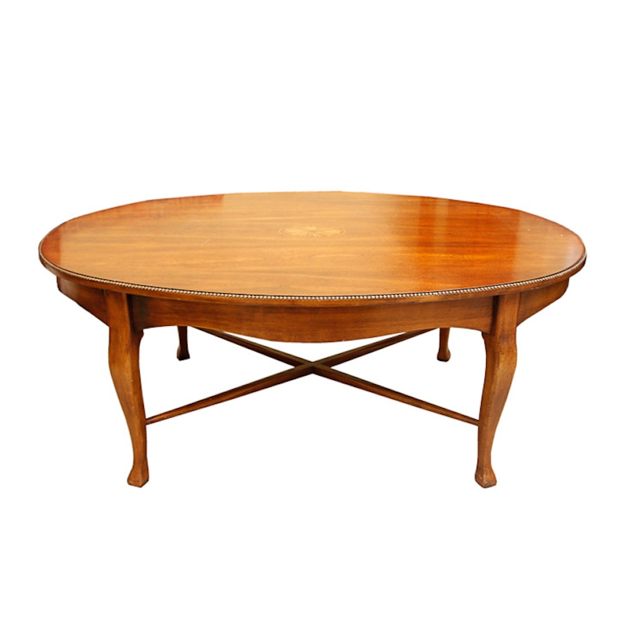Queen Anne Style Cherry Coffee Table With Inlay
