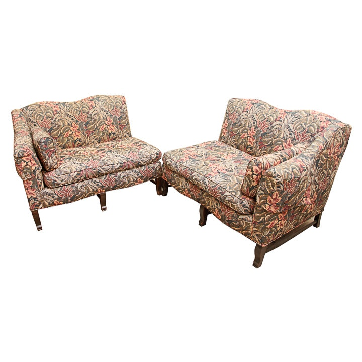 Two Piece Floral-Upholstered Sofa