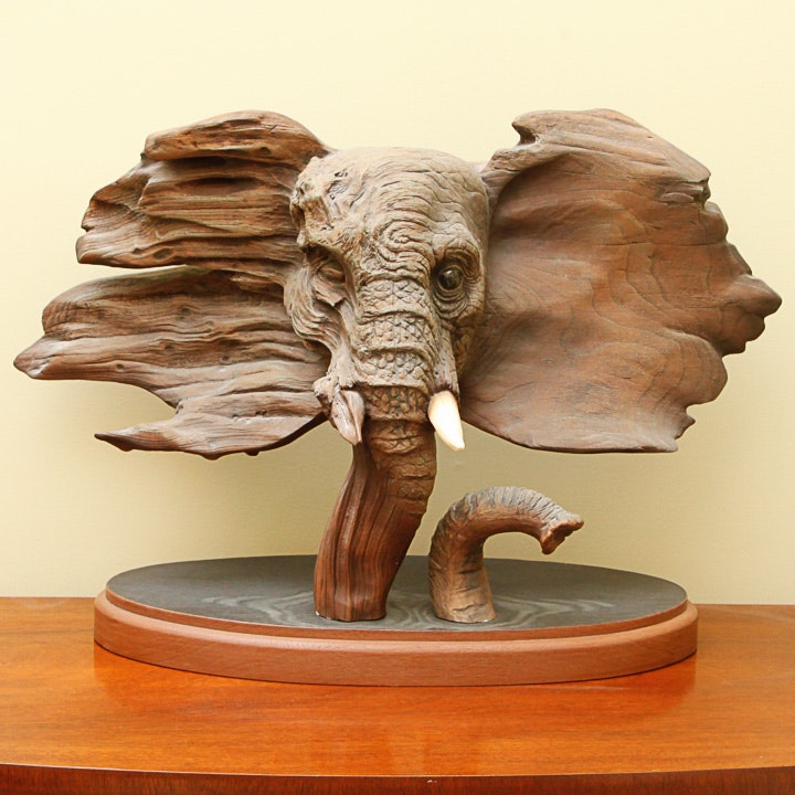"""Rick Cain Limited Edition Wooden Sculpture """"The Elder"""""""