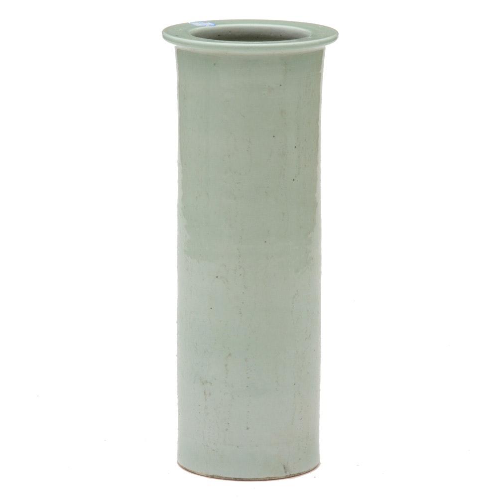 Large Antique Celadon Pottery Vase