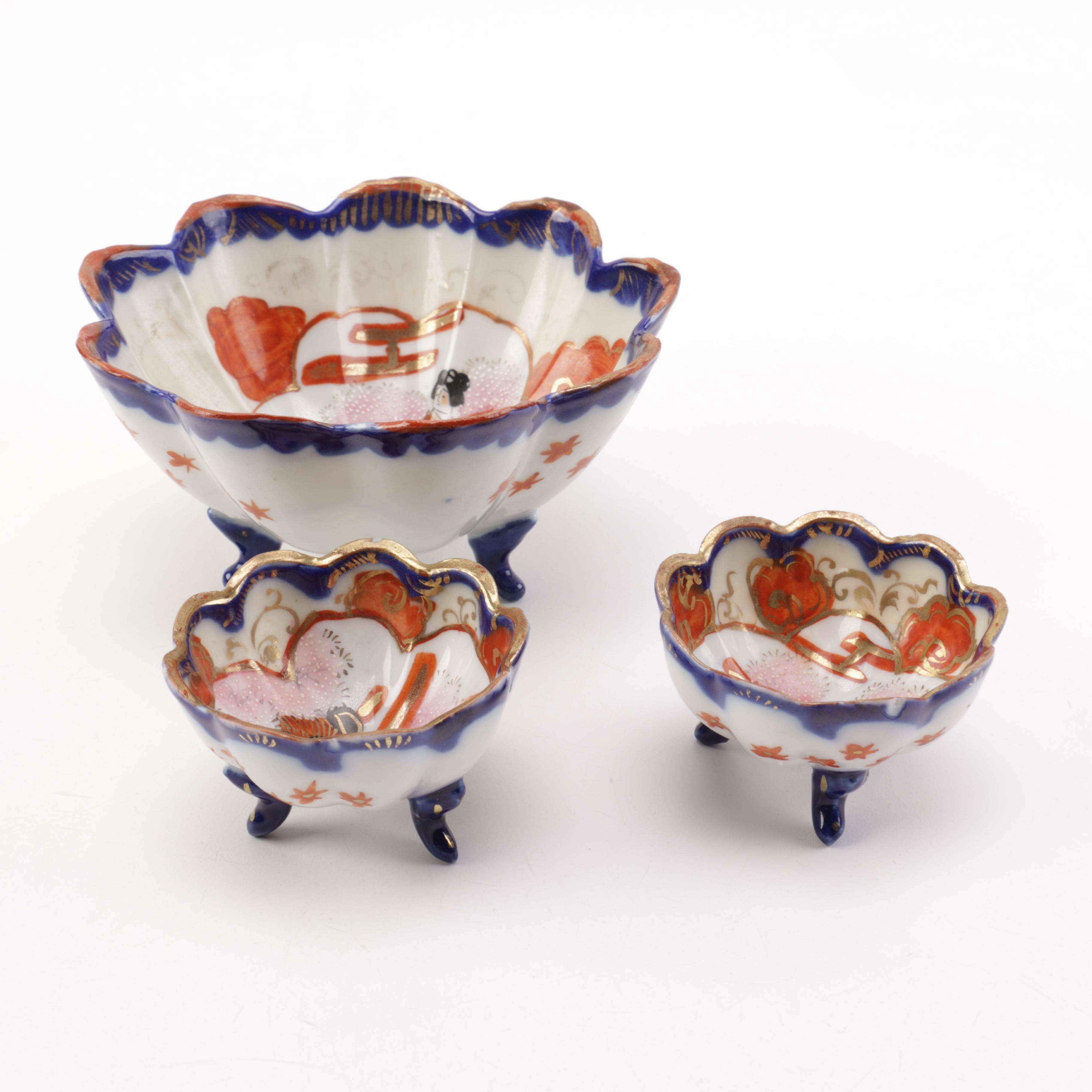 Vintage Japanese Geisha Porcelain Bowls