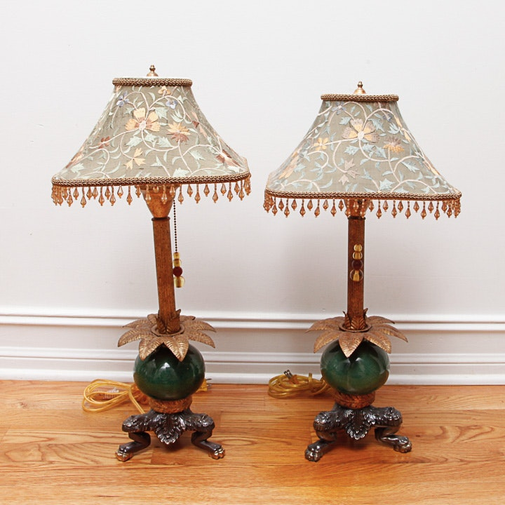 Vintage Tyndale Green Glass Table Lamps Ebth