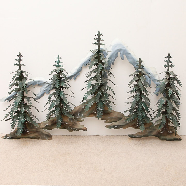 Metal Sculpture of a Woodland Scene with Snowy Mountains