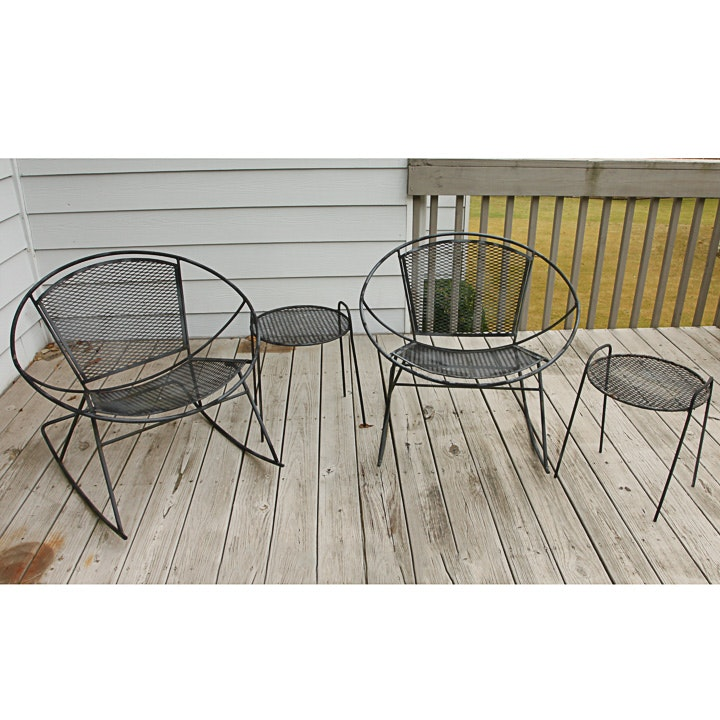 Vintage Mid Century Modern Metal Patio Rocking Chairs and Side Tables