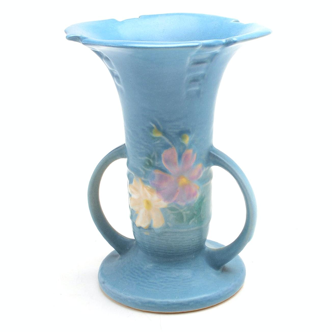 """Vintage Roseville Blue """"Cosmos"""" Vase"""