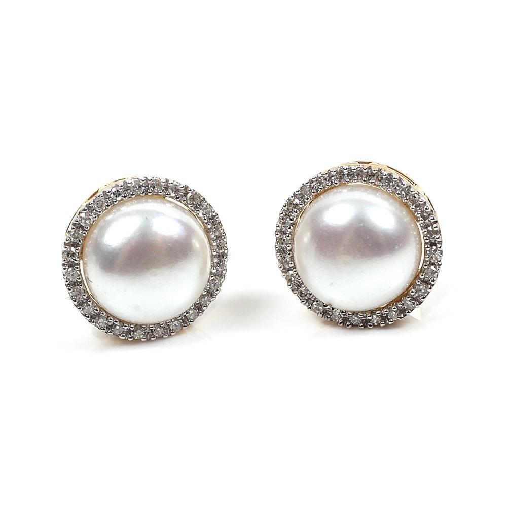 Pair of Alwand Vahan 10K Yellow Gold, Pearl and Diamond Earrings