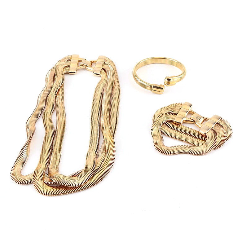 Vintage Gold Tone Cobra Jewelry Featuring a Demi Parure and Bypass Bracelet