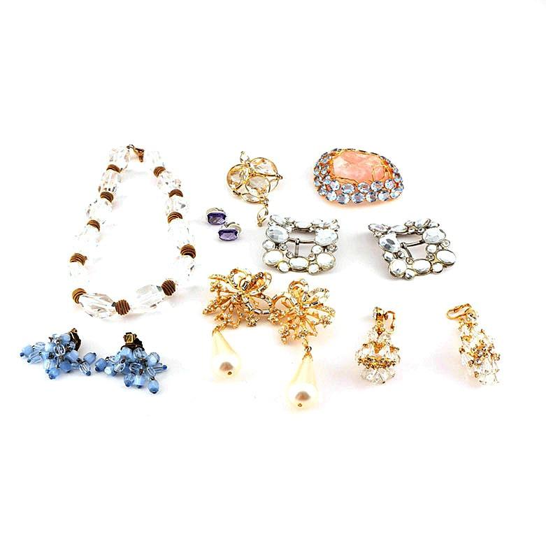 Embellished Costume Jewelry Including Quartz, Rose Quartz, and Swarovski