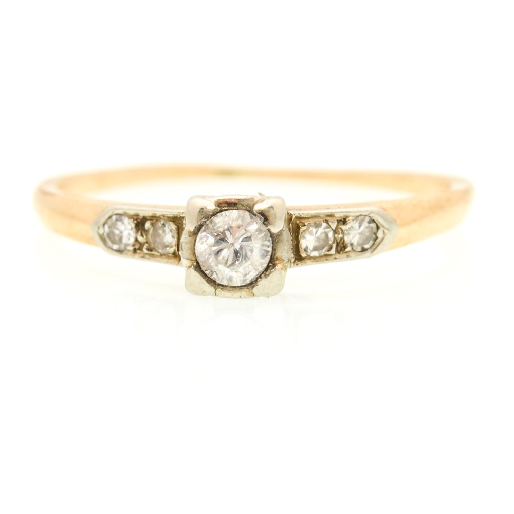14K Yellow Gold Cubic Zirconia and Diamond Ring