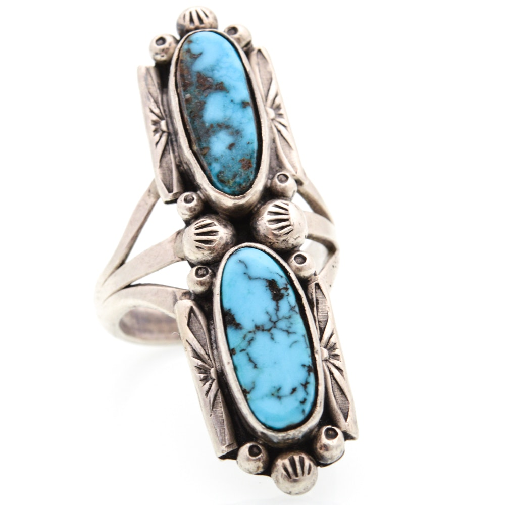 Silver Tone Dyed Turquoise Ring