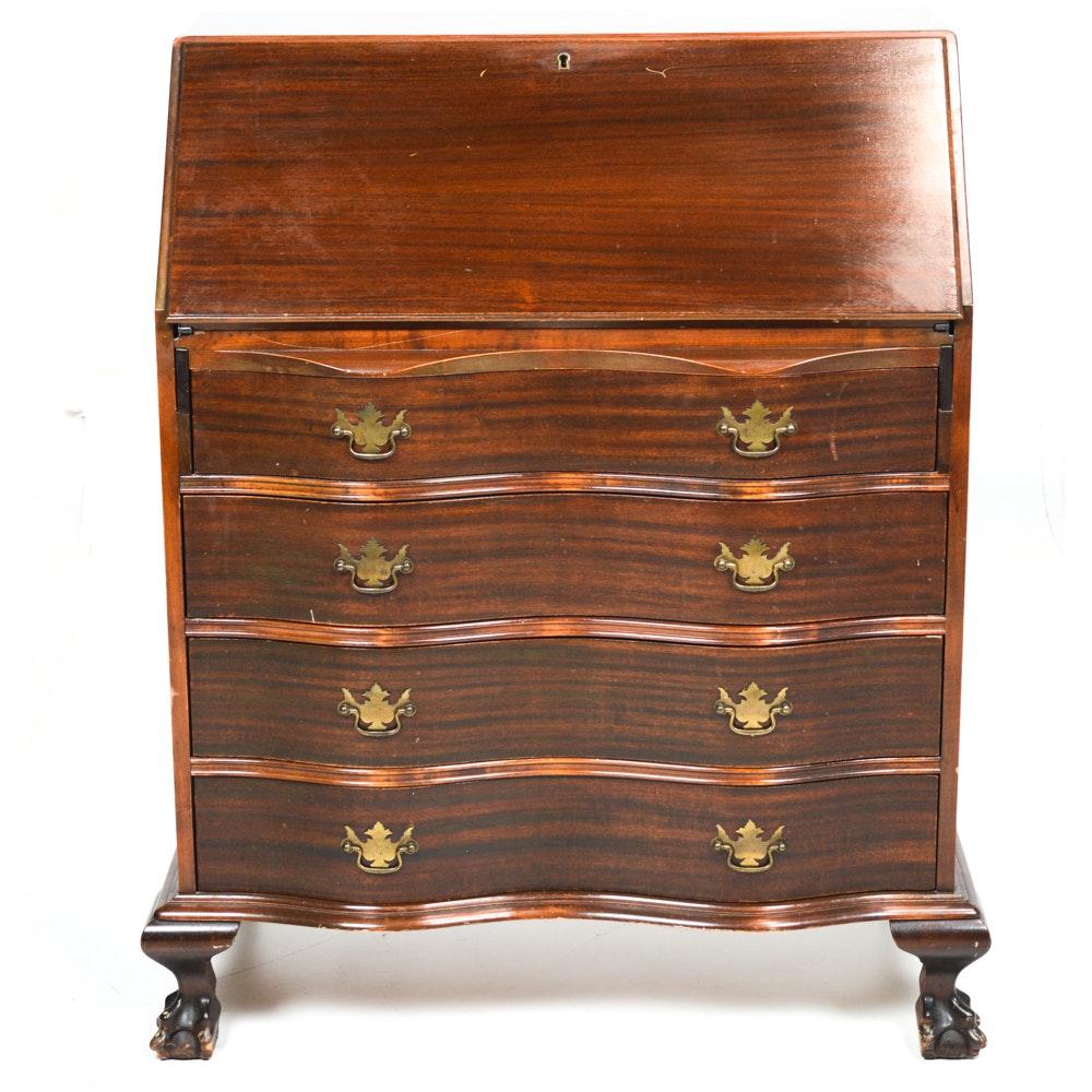 Vintage Chippendale Style Mahogany Veneer Secretary by Monitor Furniture