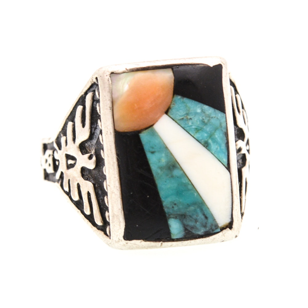 Onyx, Turquoise, and Mother of Pearl Ring