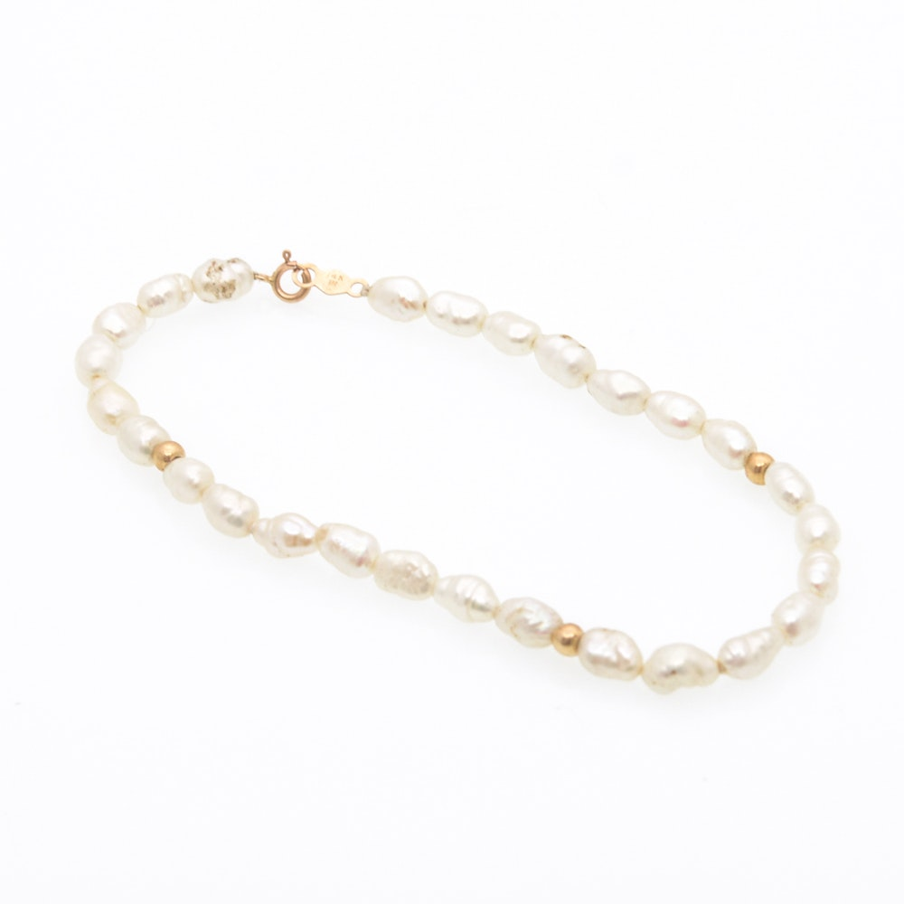 14K Yellow Gold Freshwater Pearl Bracelet