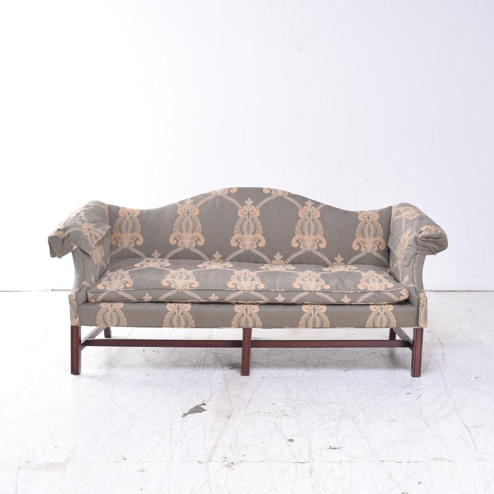 Custom Upholstered Chippendale Style Camelback Sofa