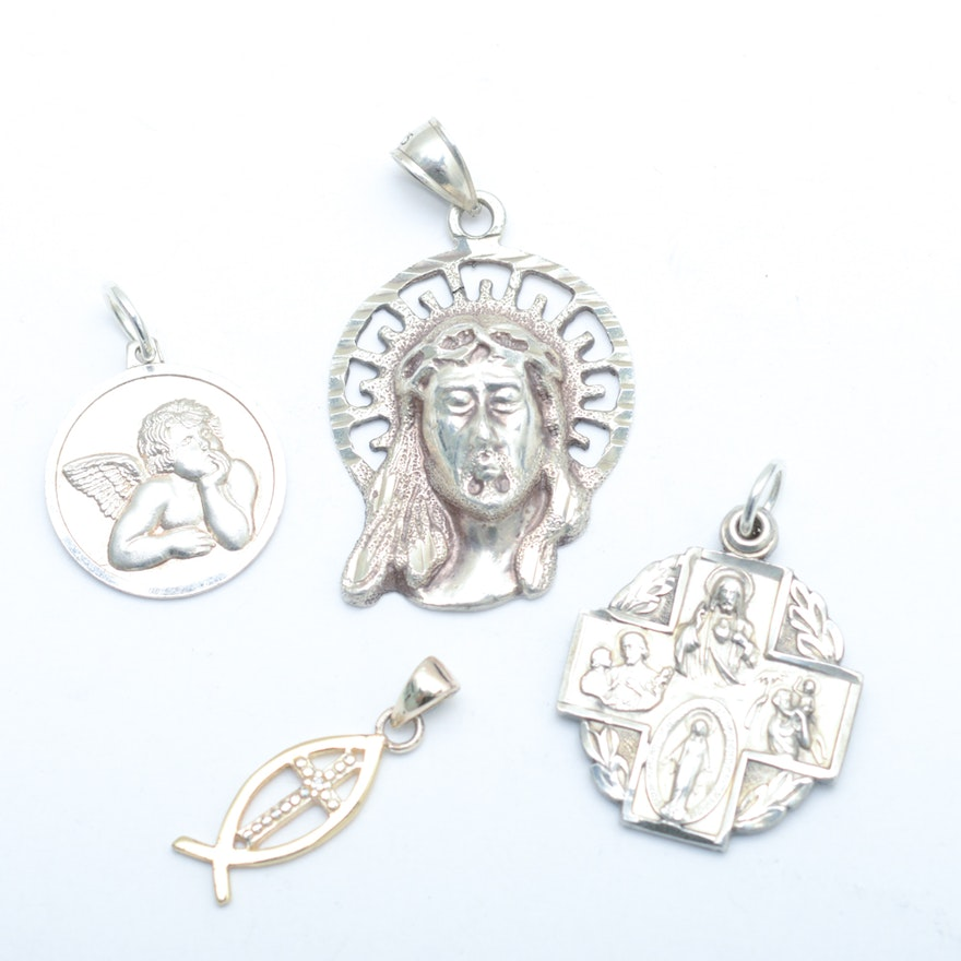 Sterling silver religious pendants ebth sterling silver religious pendants aloadofball Images