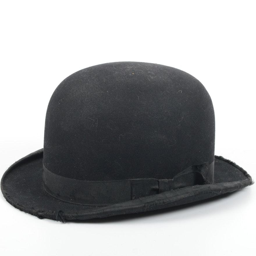 fdc1318b535c4 Vintage 1920s Black Felt Bowler Hat   EBTH
