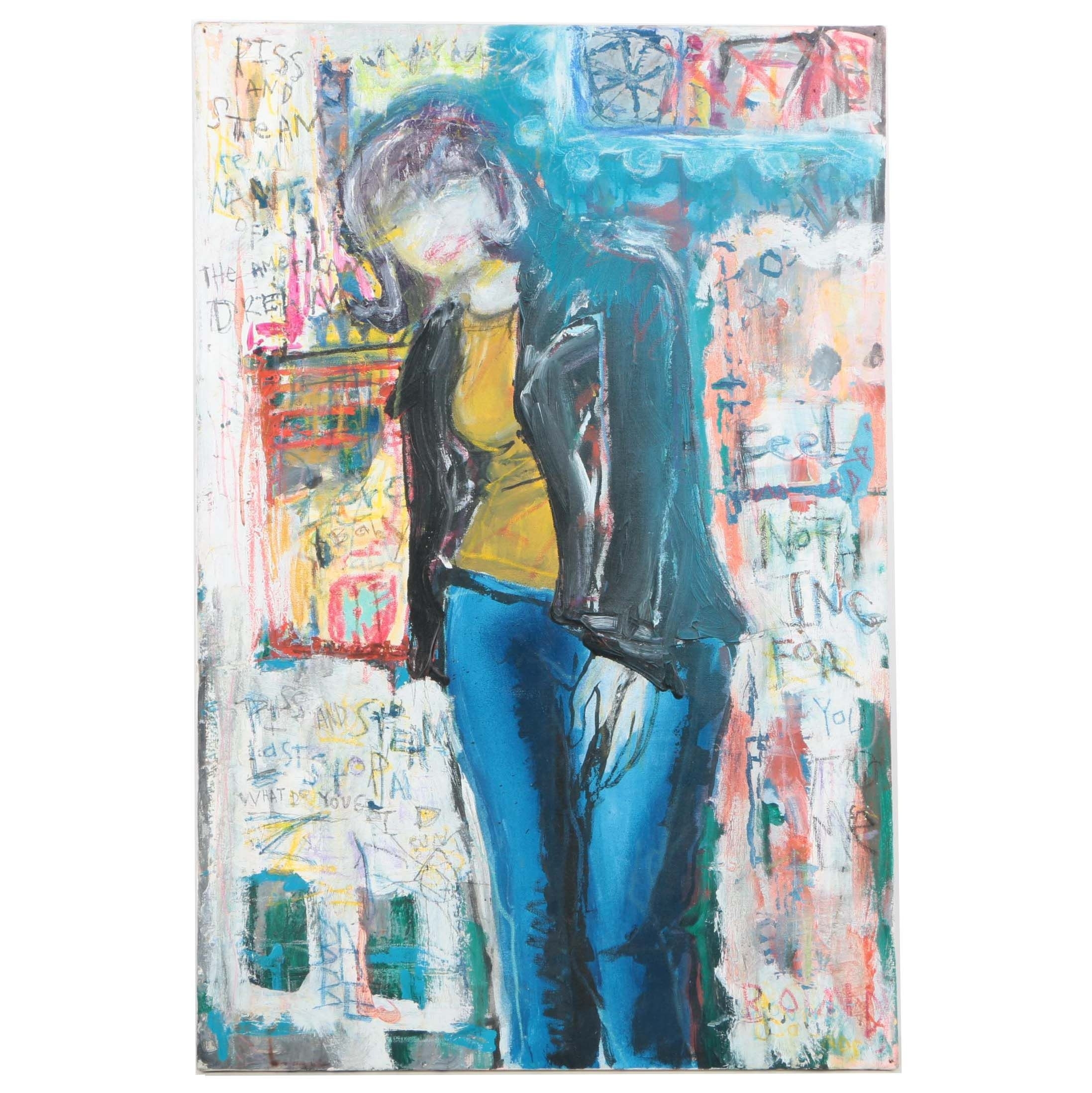 Mixed Media Painting of a Woman in Blue Jeans