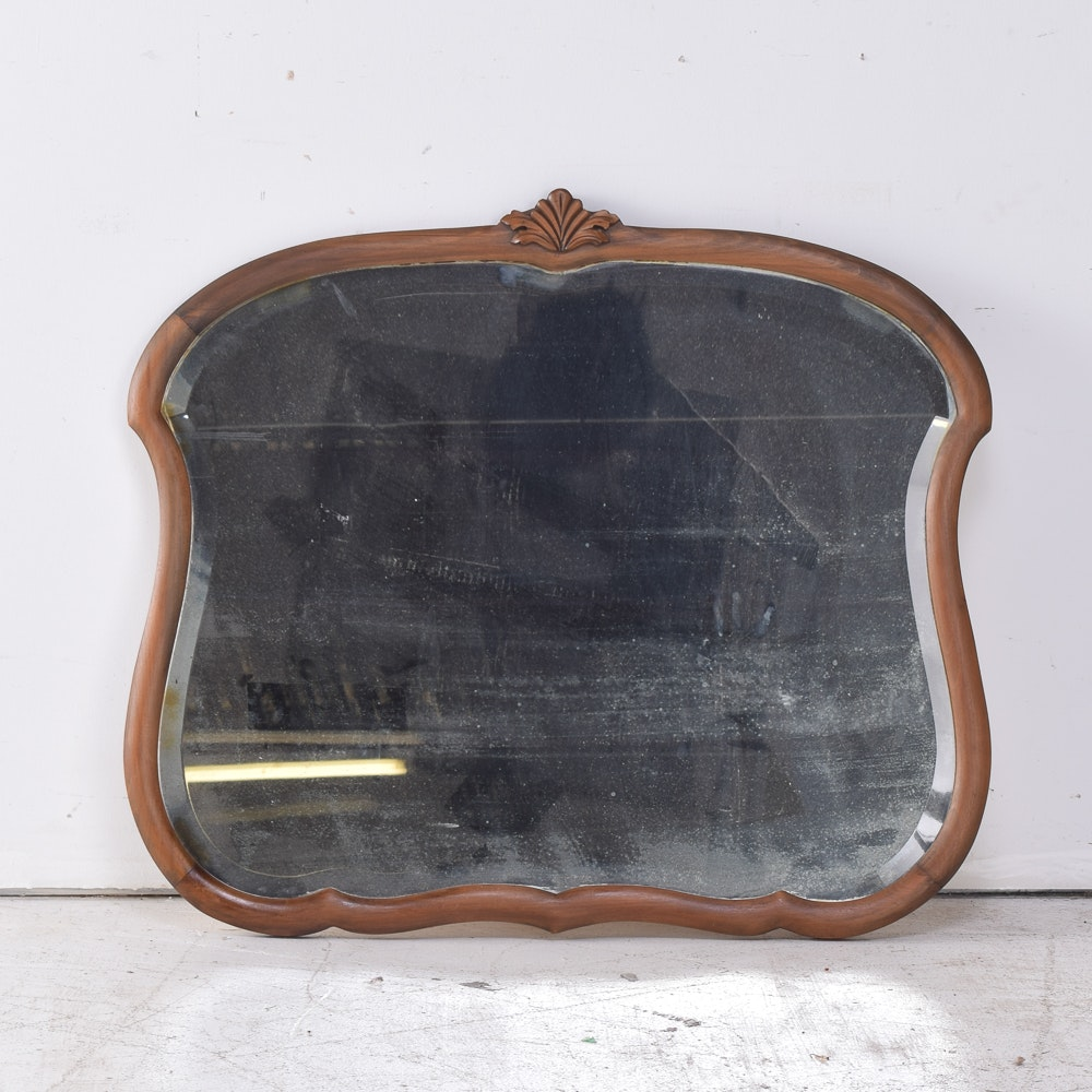 Vintage Wooden Framed Wall Mirror