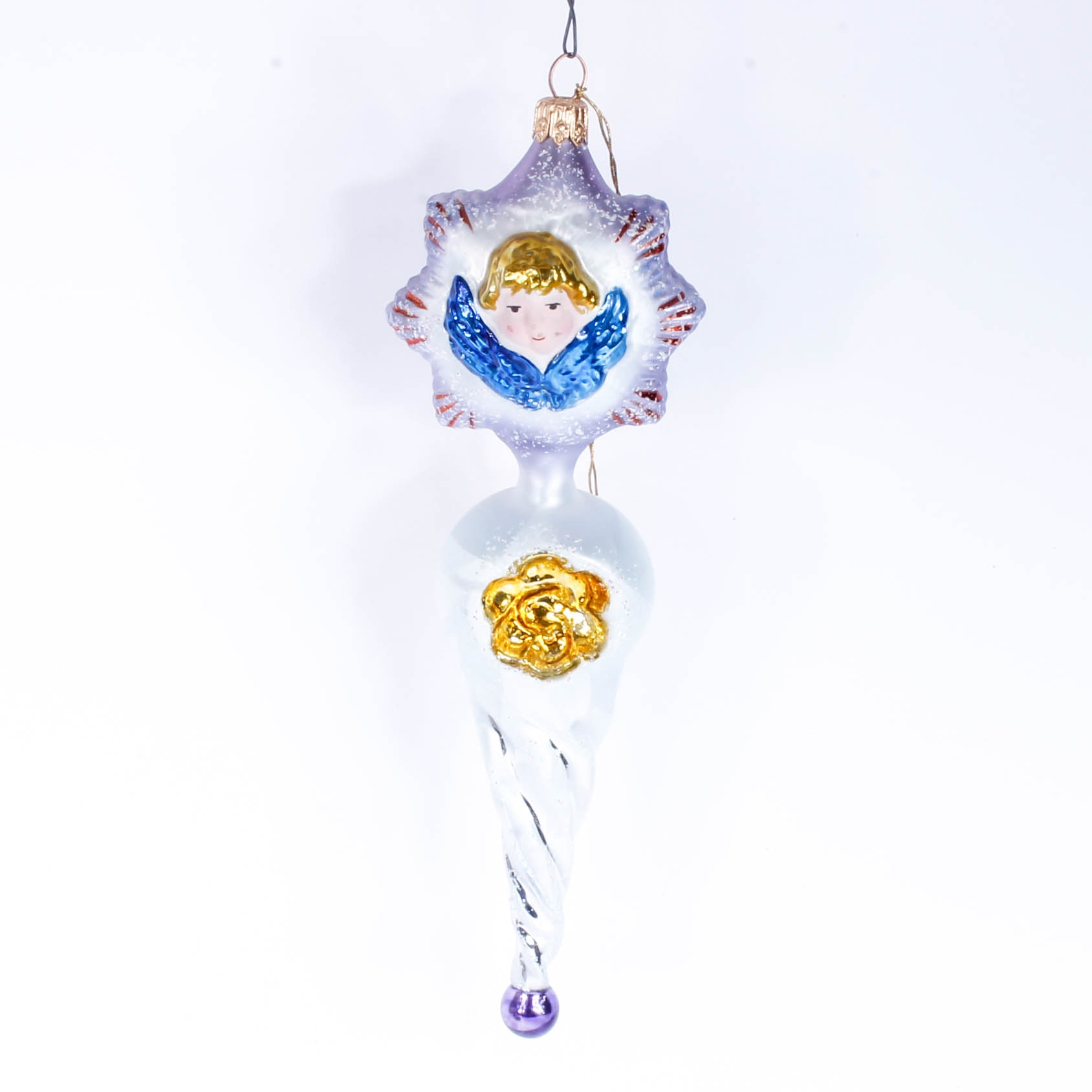 """Christopher Radko """"Winged Icicle"""" Hand-Painted Glass Ornament"""