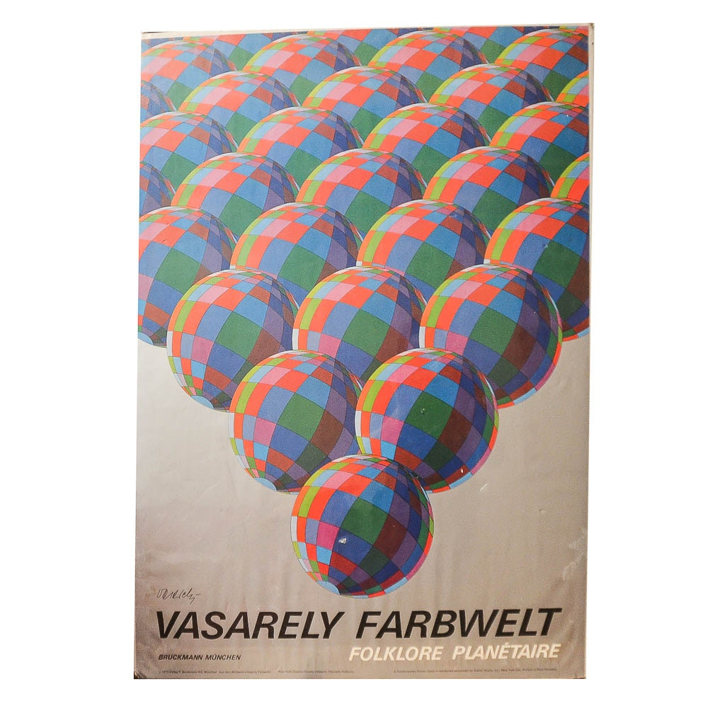 Vintage Offset Lithograph Poster on Paper After Victor Vasarely