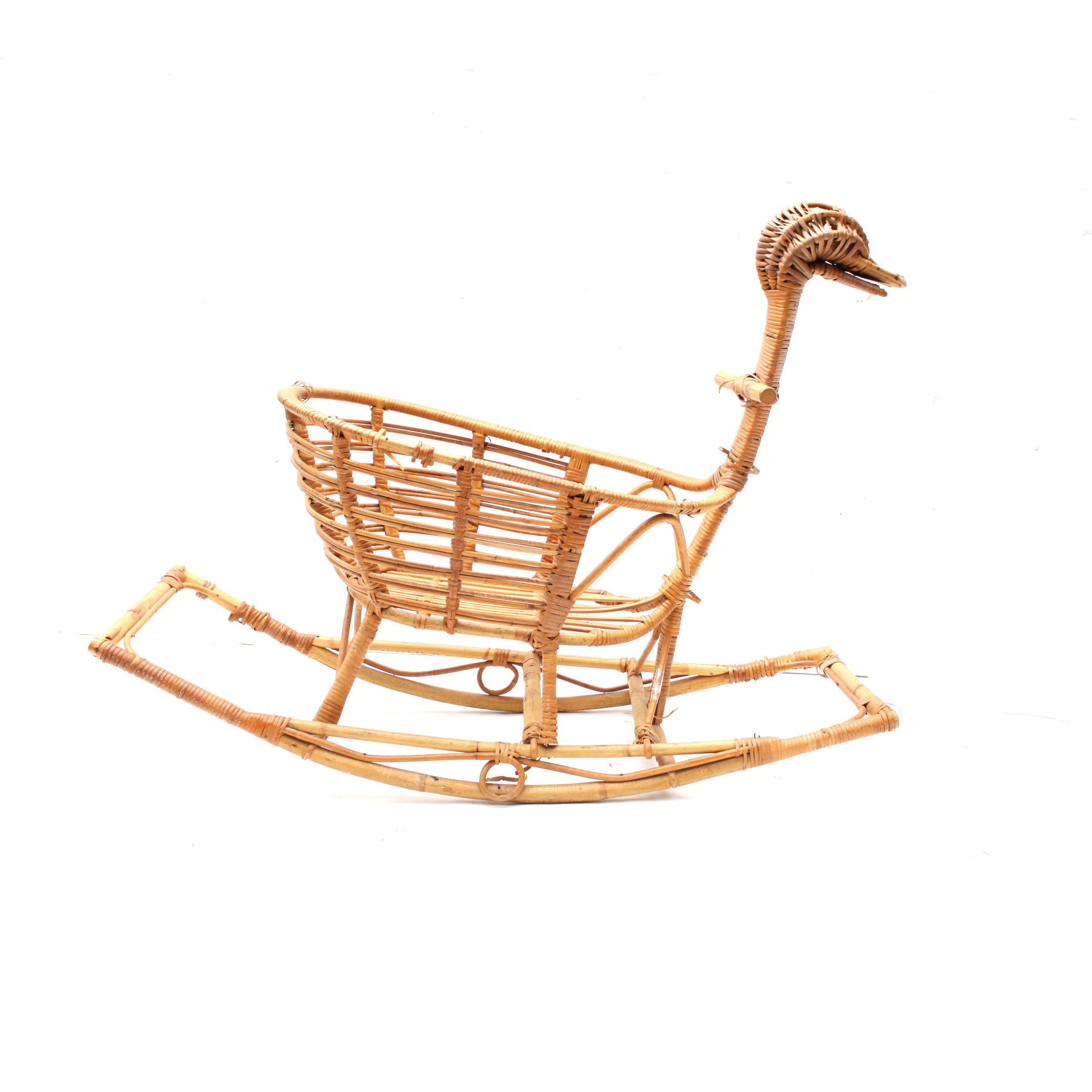 Mid-Century Bamboo and Rattan Rocking Duck