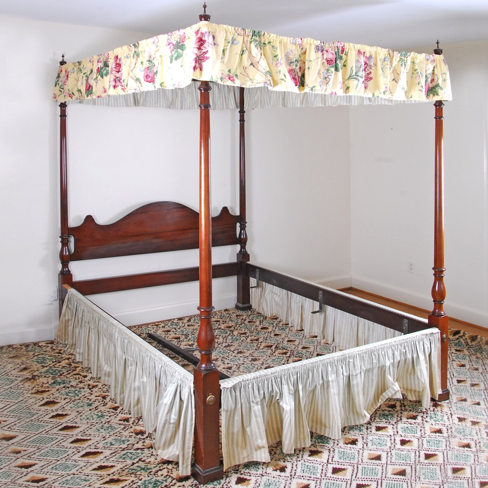 Federal Style Four Poster Mahogany Queen Bed Frame