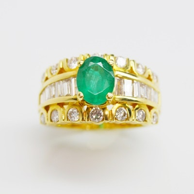 18K Yellow Gold 1.11 Carat Emerald and Diamond Ring