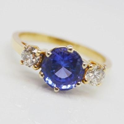 14K Yellow Gold 2.00 CT Tanzanite and Diamond Ring