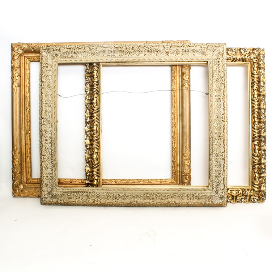 Vintage Wood Picture Frames with Gold Accents : EBTH