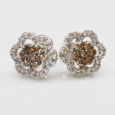 14K White Gold Brown Diamond Pierced Earrings