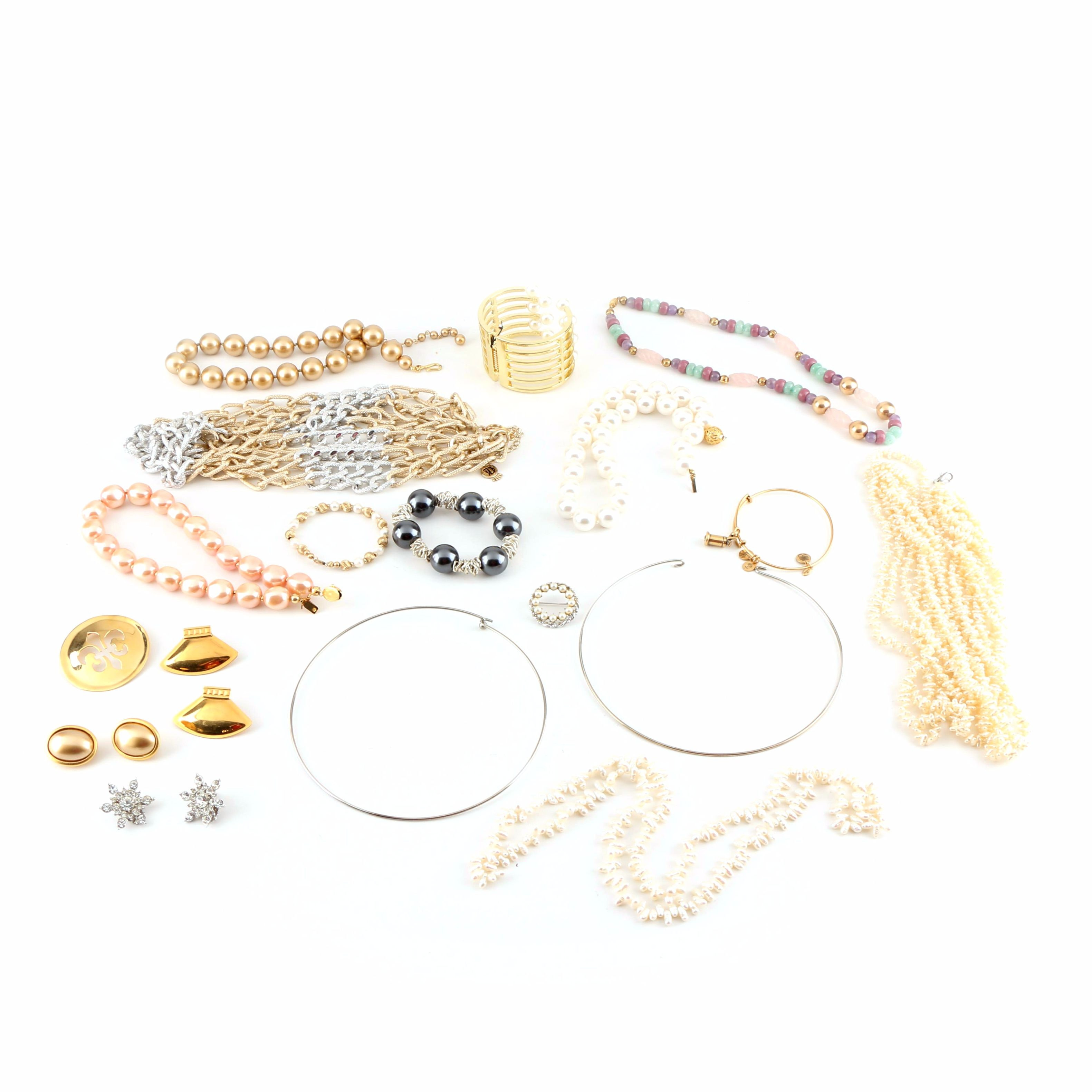 Assortment of Costume Jewelry Featuring Gemstones