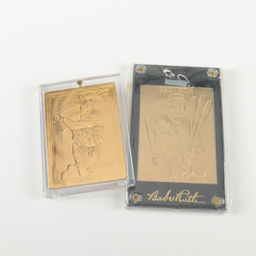 22k And 24k Gold Foil Babe Ruth And Lou Gehrig Baseball Cards