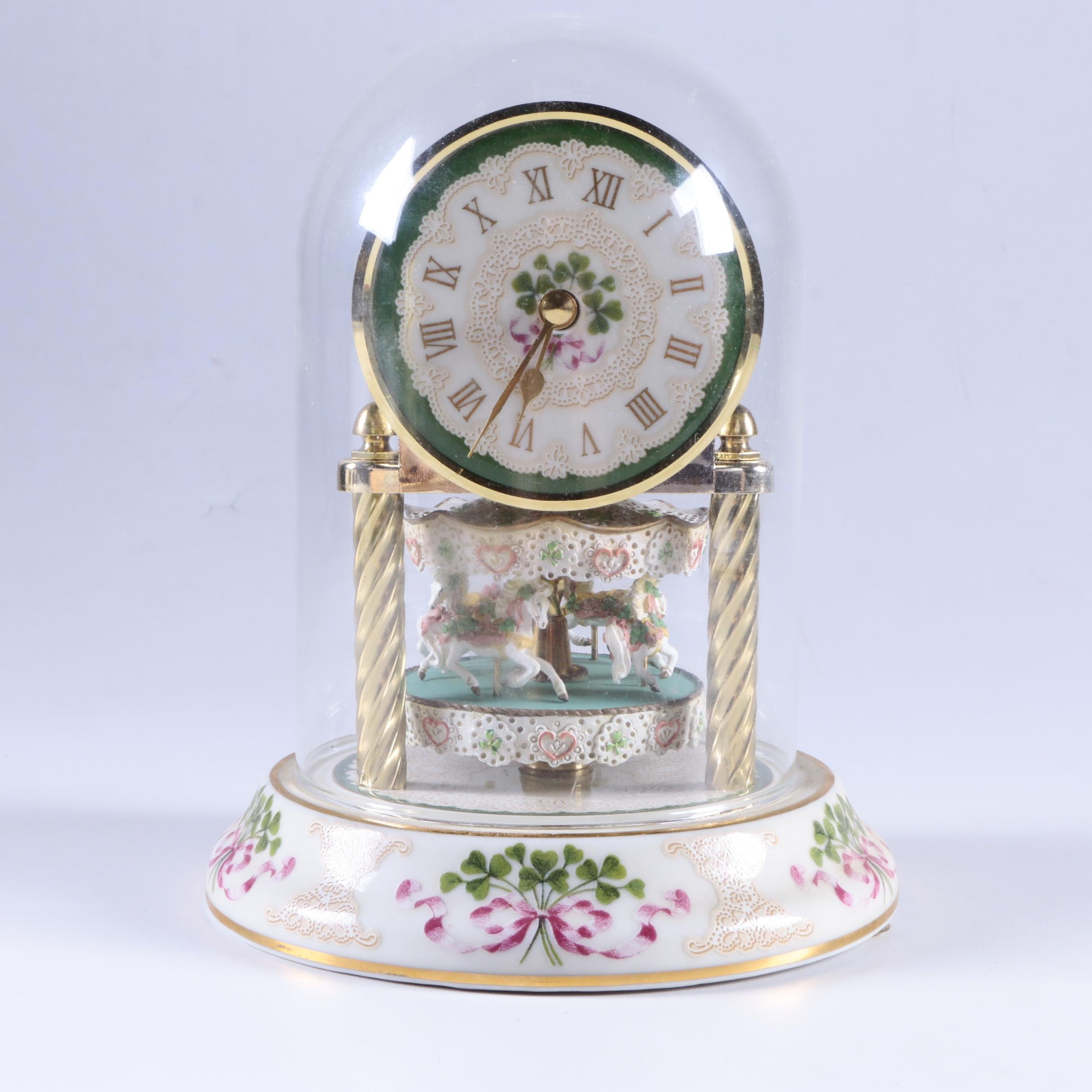 "Freundl German Porcelain Anniversary Clock ""Irish Lace"""