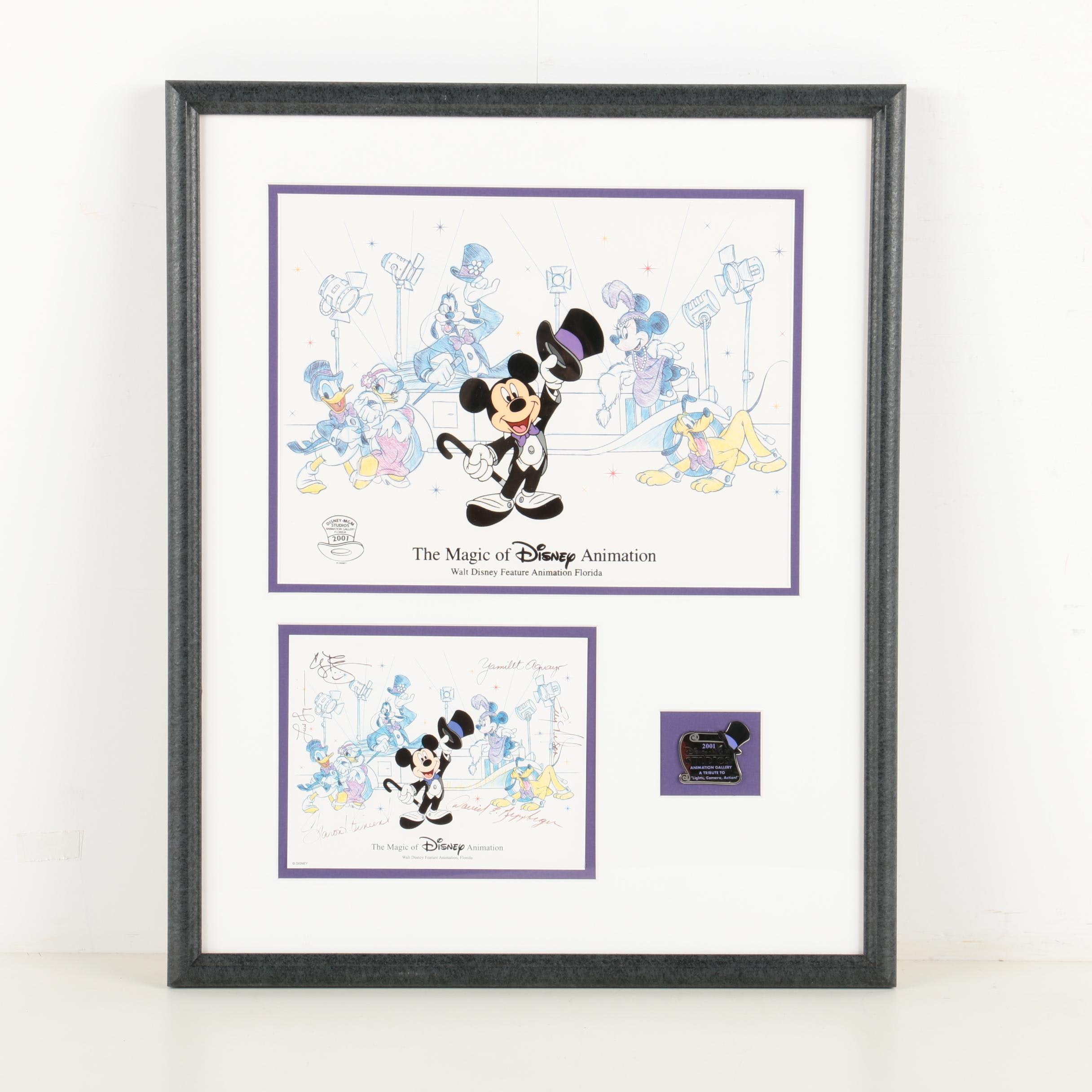 """Disney Sericel Print with Pin and Autograph Card """"Lights, Camera, Action"""""""