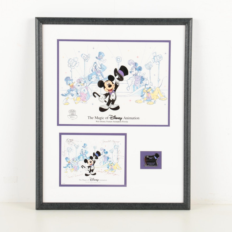 Disney Sericel Print with Pin and Autograph Card \