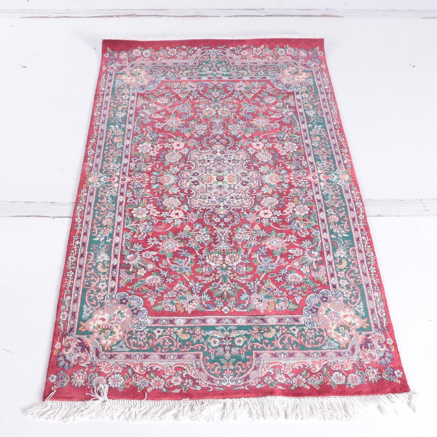Fine Hand Knotted Persian Kerman Area Rug