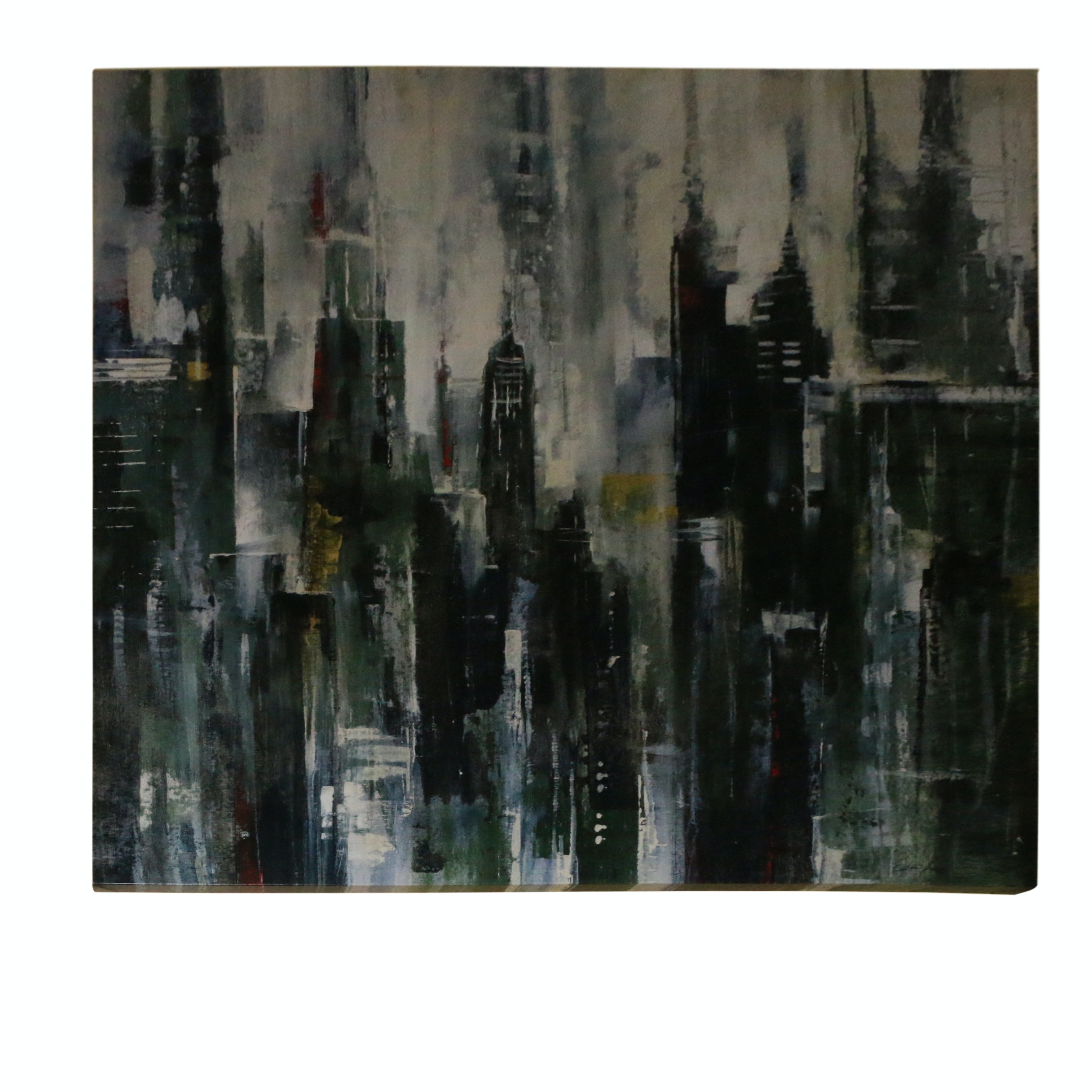 Acrylic Painting on Canvas Board of Abstract Cityscape