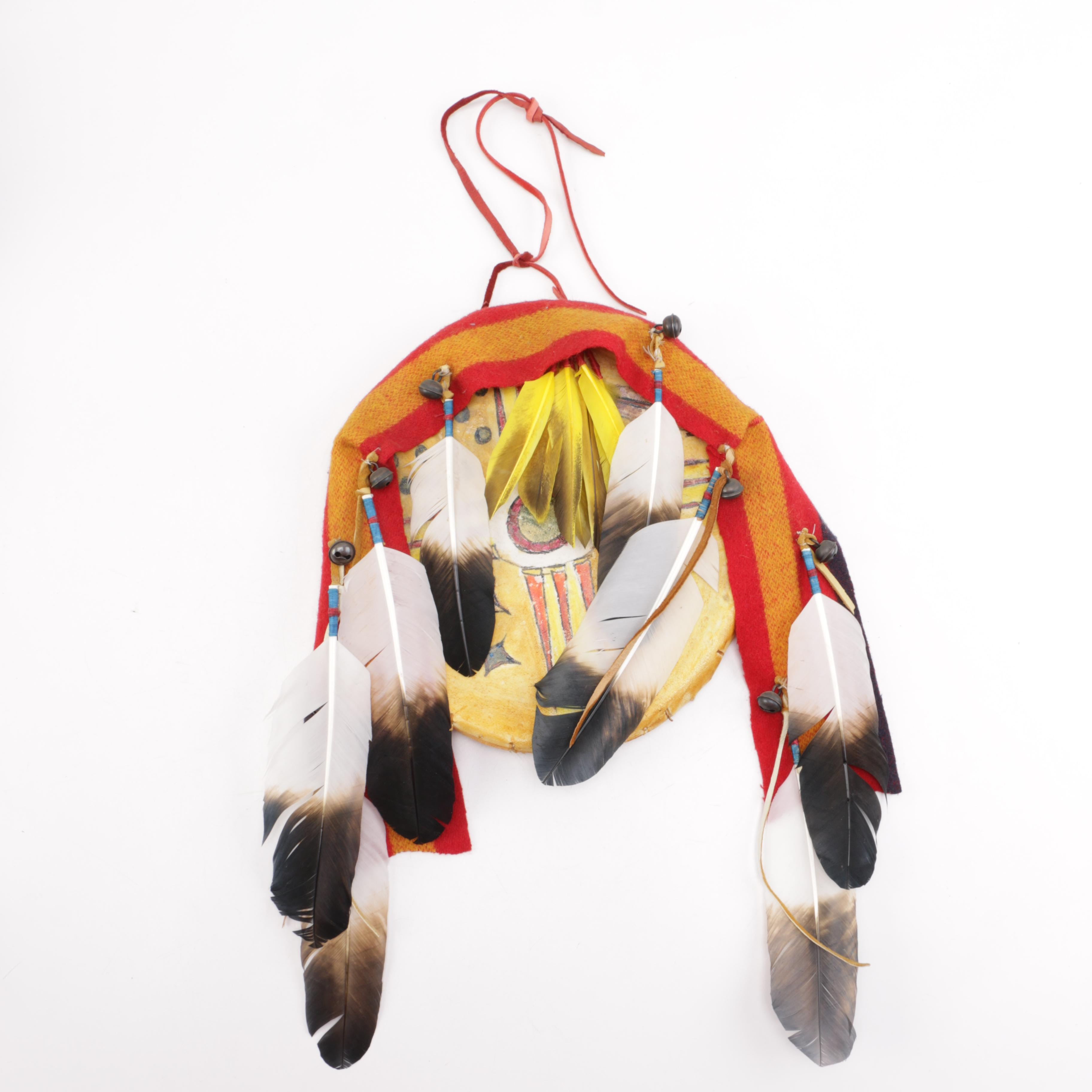 Decorative Native American Feathered Mixed Media Wall Hanging