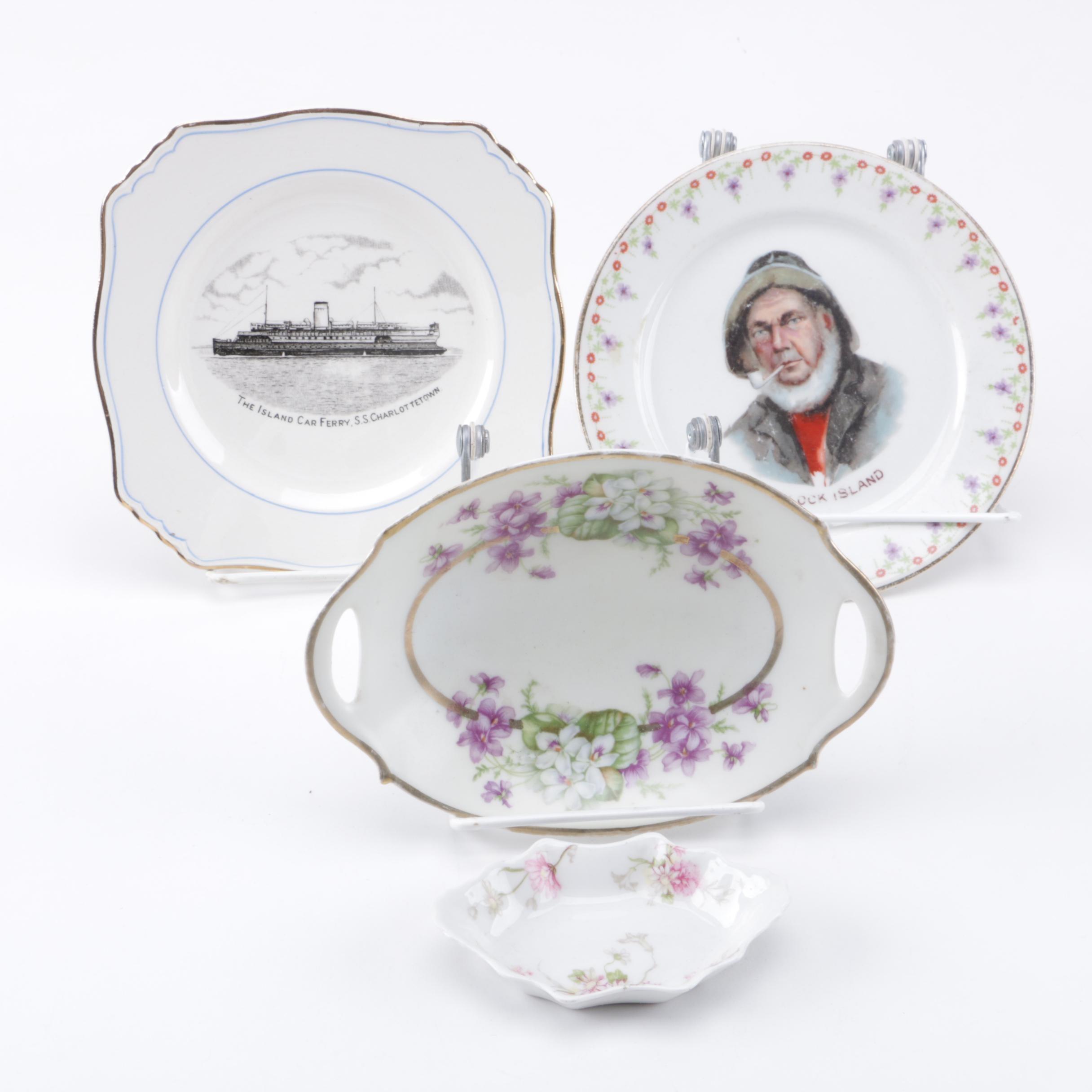Porcelain Plates Including Limoges and Royal Winton Grimwades