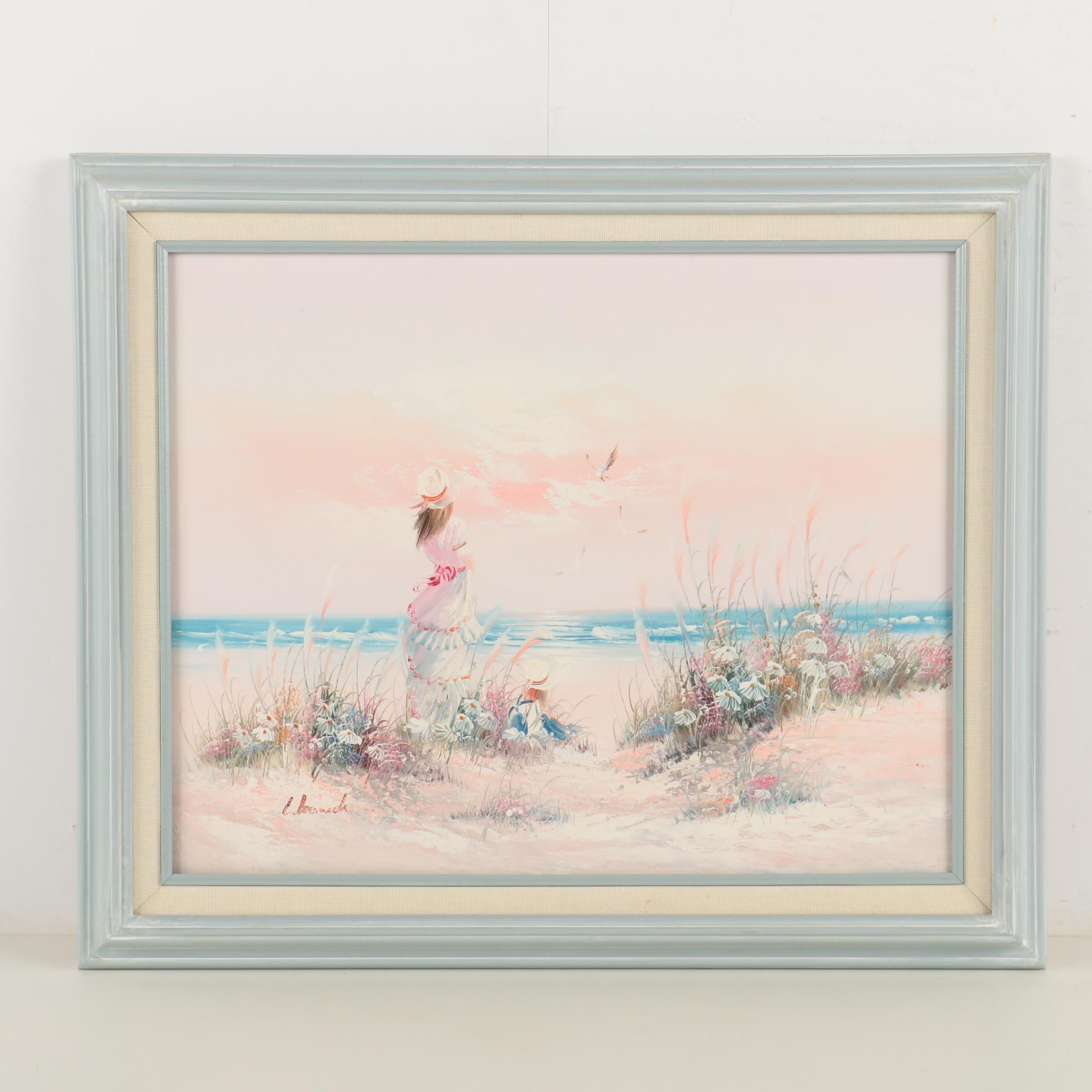 L. Keswick Oil Painting on Canvas of Beach Scene